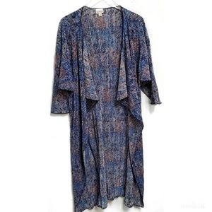 Lularoe Blue Micro Dot Pleated Kimono